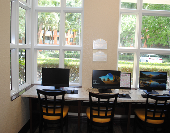 business center with computers at registration building, Vacation Village at Weston
