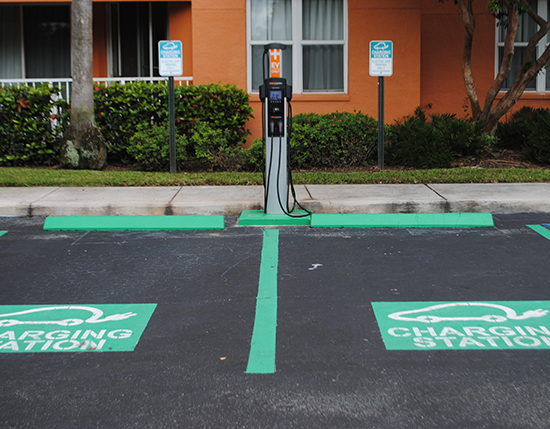 outdoor electric car charging station, Vacation Village at Weston