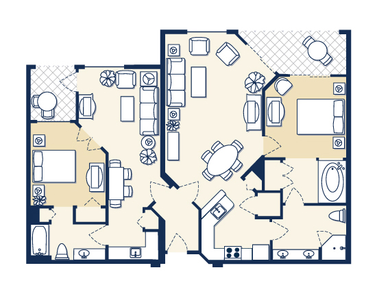 floor plan map for Suites A and B, Vacation Village at Weston