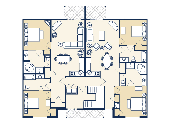 floor plan map for four bedroom suite, Vacation Village at Williamsburg