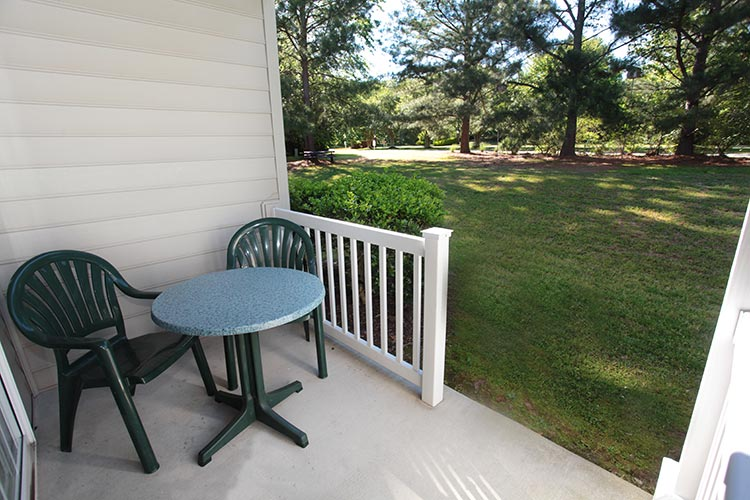 private outdoor furnished patio, Williamsburg Plantation