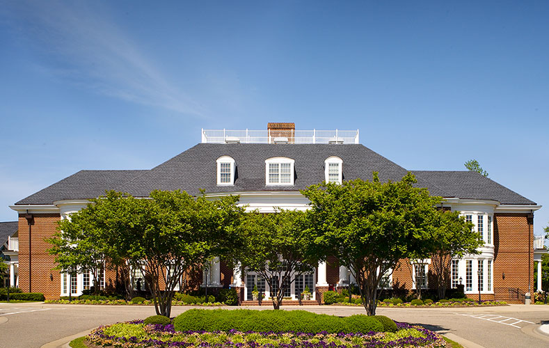 outside view of main clubhouse with landscape, Williamsburg Plantation